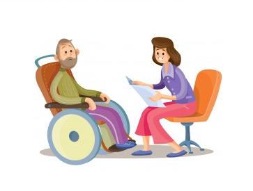 Duas pessoas frente a frente. À esquerda a pessoa tem barba e cabelos grisalhos, usando cadeira de rodas e agasalho. A pessoa da direita está sentada numa cadeira laranja, segura papéis em frente ao corpo, e está inclinada na direção da pessoa da esquerda, indicando comunicação entre elas.