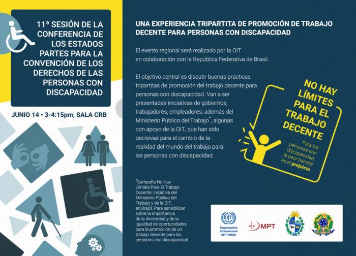"""imagem do convite para o painel """"Uma experiência tripartite de promoção de trabalho decente para pessoas com deficiência"""" em Conferência da ONU sobre os direitos das pessoas com deficiência."""